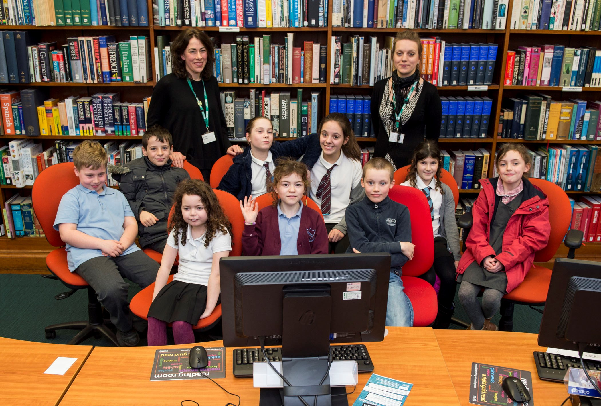 Group pic of the librarians and children from the Code Club Kircauldy Library in Fife.