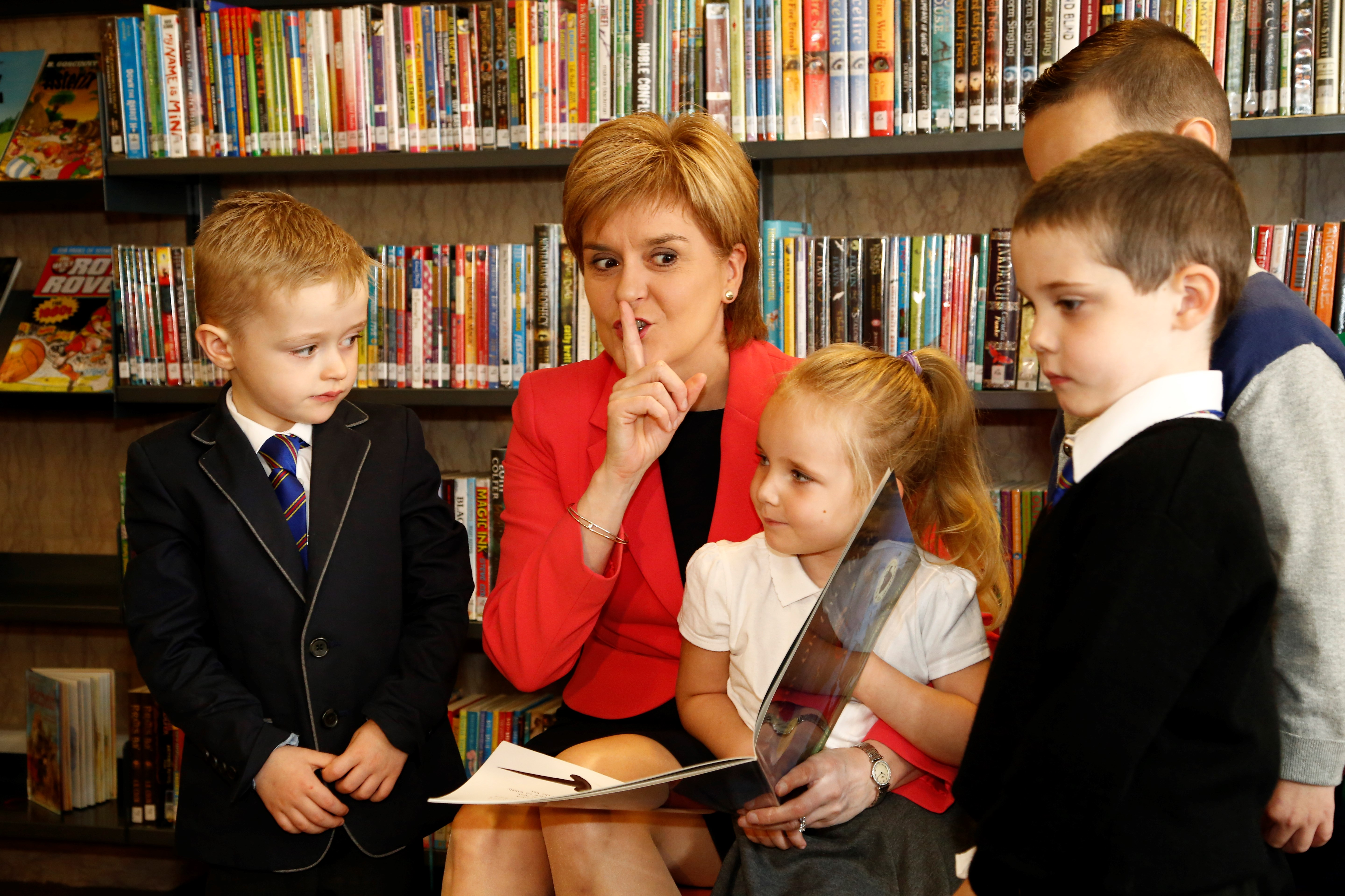 First Minister Nicola Sturgeon launching the Every Child A Library Member project at the Mitchell library in August 2015