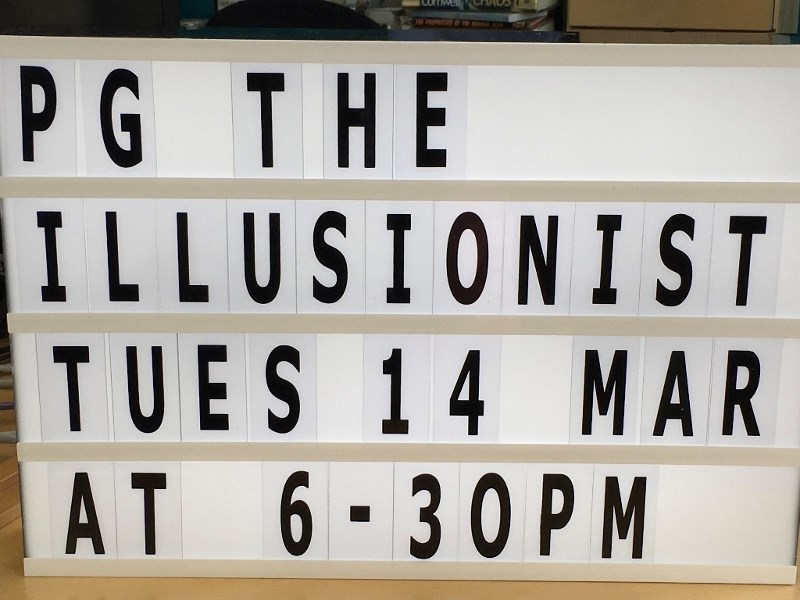 Picture showing 'The Illusionst' signage used in Tarbert Library as part of HebFlicks
