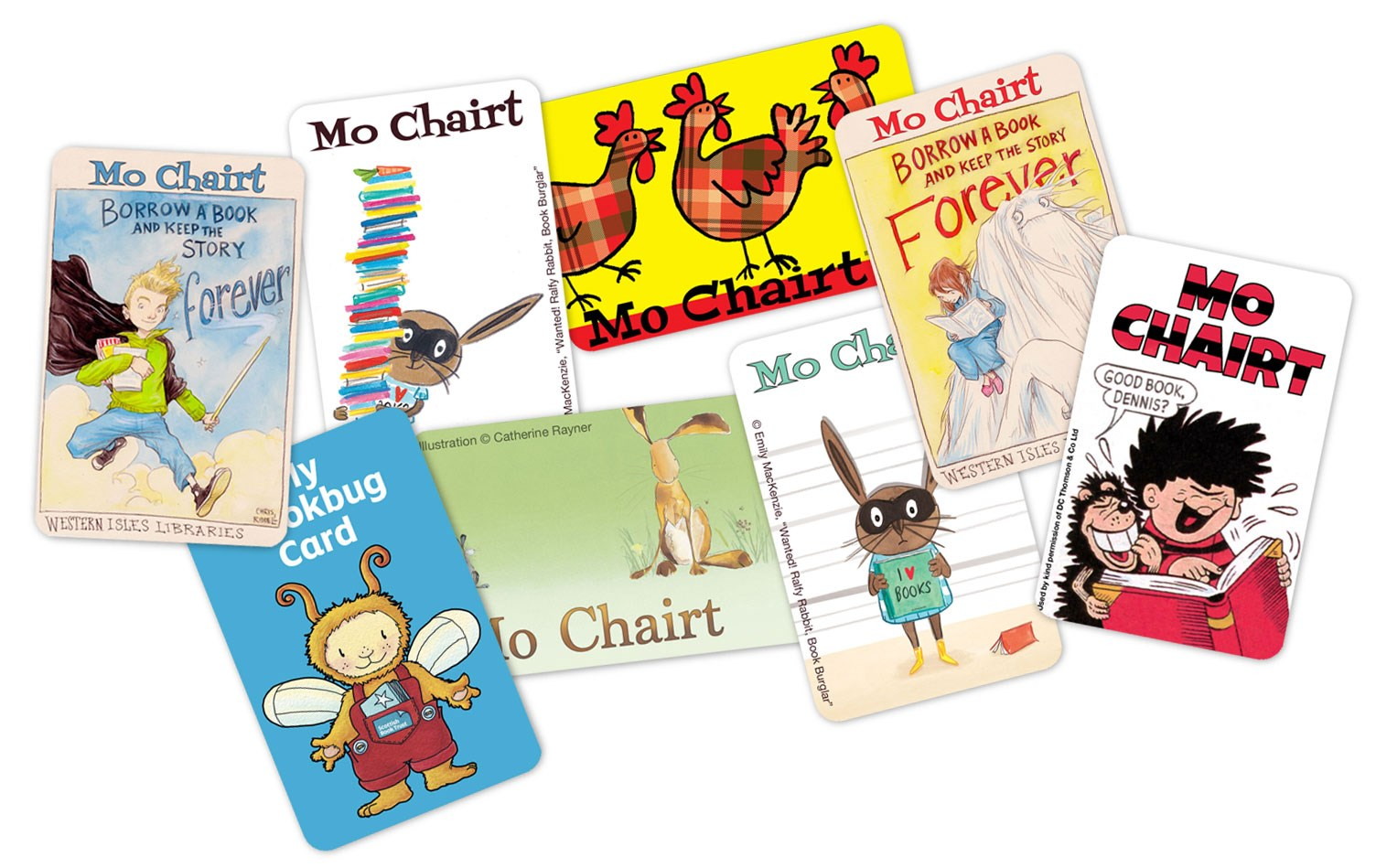 A variety of library cards produced by Scottish Public Library Services for the Every Child A Library Member scheme in 2015.