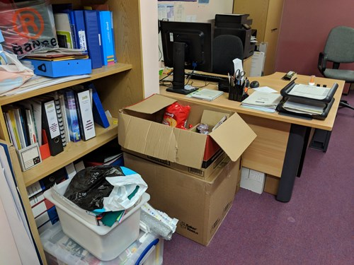 Desks and boxes at Troon Library