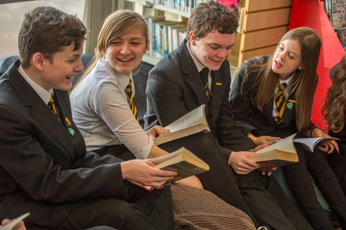 Pupils in a school library